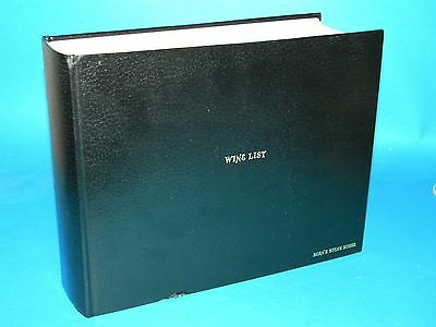 Bern's Steak House Deluxe Wine Menu/Catalog/Guide Book 2500 pages 1984