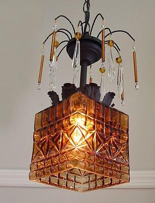 "Vintage PENDANT Chandelier 8"" x 12 1/2"" Textured AMBER GLASS, Crystals, Beads"