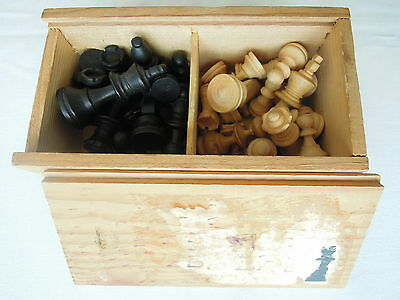 Vintage Boxwood Chessmen in Original Box with Sliding Lid