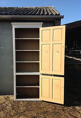 Very tall antique pine painted cupboard bookcase