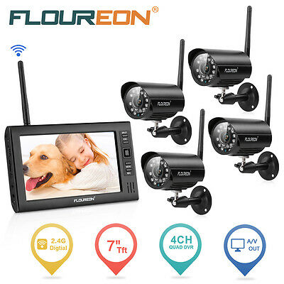 "7"" LCD Monitor Recorder Outdoor Wireless Digital DVR CCTV Camera Security System"