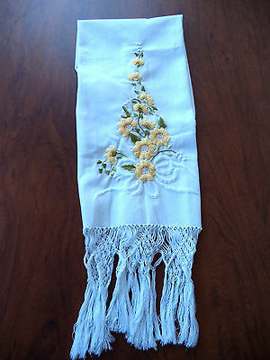 Vintage SHOW TOWEL Elaborate Yellow Embroidered Flowers Hand Tied Fringe 15 x 30