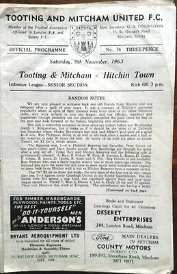 Tooting V Hitchin Town 9/11/1963 Isthmian League