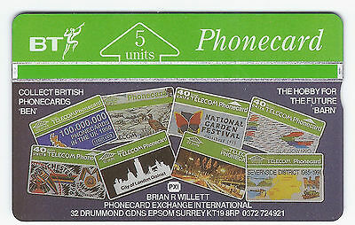 BT 1991 Collect British Phonecards BTP -013 mint 5 units L & G 3,307 issued 107A