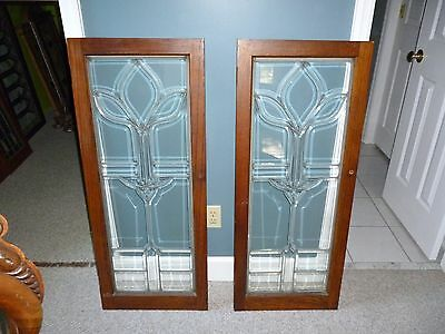 Pair of Large Antique Beveled Glass Cabinet Doors