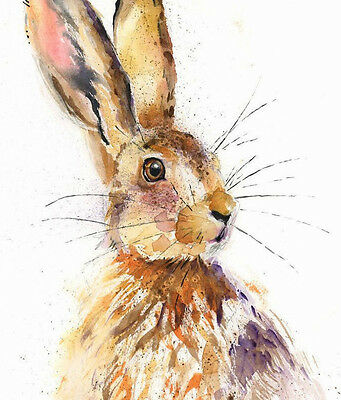 HELEN ROSE Limited Print HANDSOME HARE wildlife art watercolour painting 322