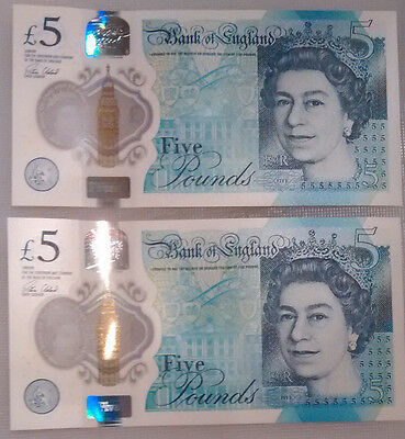 £5 X 2 Consecutive Uncirculated Bank Of England Five Pound Notes Aa05 190687/88