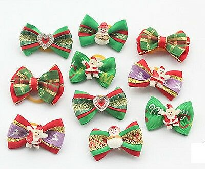 Pair For Christmas Pet Dog Hair Bows w/Rubber Bands Cat Puppy Grooming Hair