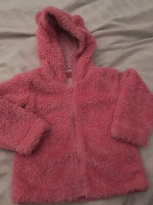 Girls Pink Fluffy Jacket Coat 18-24 Months 1 1/2-2years Hooded