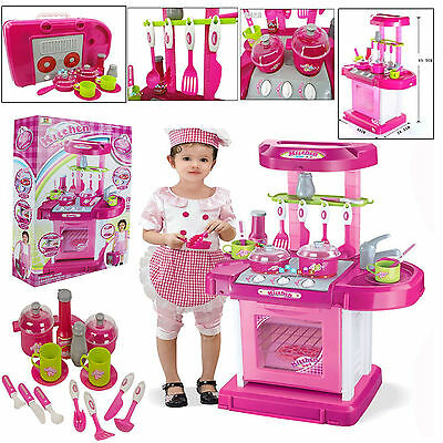 Electronic Portable Pink Children Kids Kitchen Cooking Girl Toy Cooker Play Set