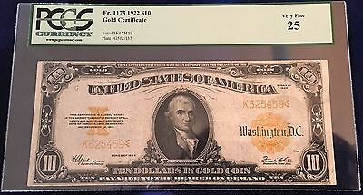 1922 $10 Gold Certificate Fr 1173 PCGS VF25