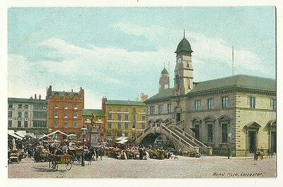Leicester - a colour printed postcard of Market Place
