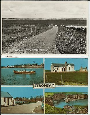 Whitehall Village, etc., Stronsay, Orkney, on two postcard posted in 1960-70s