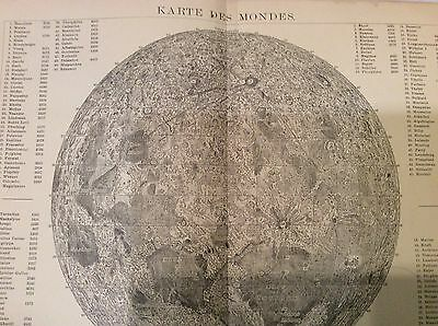 The MOON PLANET MOUNTAINS Antique Map 1898