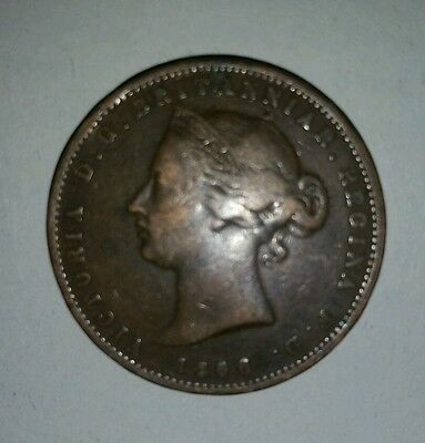 vintage jersey 1866 13th of a shilling british victoria coin rare