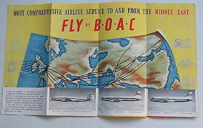 1949 Boac Route Map And Brochure Middle East