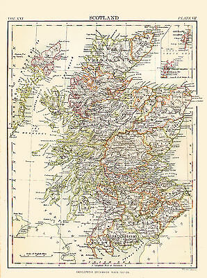 1876 Color County Map of SCOTLAND - Inset of Shetland & Orkney Islands