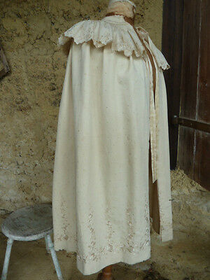 Stunning Timeworn Ivory Silk Embroidered Cape, Display Piece or Historical Ref