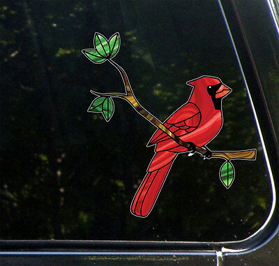 "CLR:CAR Cardinal Bird on Branch - Stained Glass Vinyl Car Decal ©YYDC-5.8""w x6h"