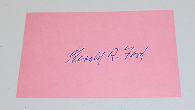 Gerald Ford Signed Pink 3X5 Card Presidental Autograph Free Ship