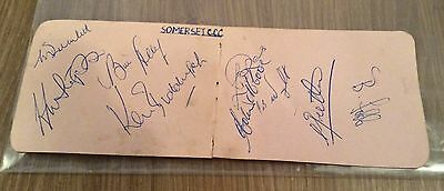 Somerset  Cricket Signed Autograph Book Pages X 2 Circa 1956