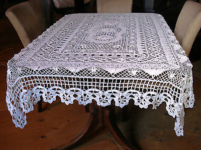 Antique Off White Handmade Valenciennes Cluny Bobbin Lace Tablecloth