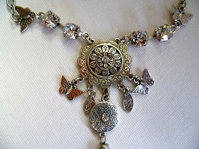 Necklace- Silver with Crystals & Butterflies.