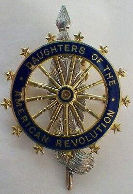 Vintage 14K Daughters of The American Revolution Brooch/Pendant Name & No.