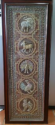 XL Large Antique Thai Burmese Kalaga Embroidered Applique tapestry Wall Hanging