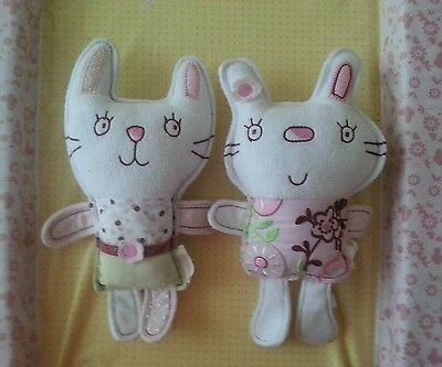 Mamas and papas baby 2x Cat soft toy, rattle, comforter