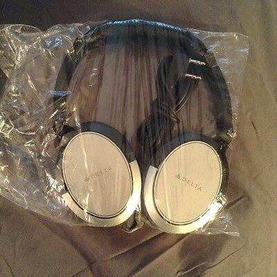 """Delta Airlines Business Class """"Noise Cancelling"""", 2 Prong Headphones"""