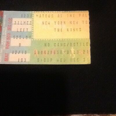 The Kinks new years evening show ticket stub