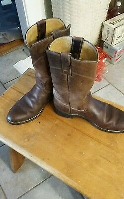 """Justin Lt Brown Men's Roper Boots Western Distressed All Leather 1""""Heel 8C"""