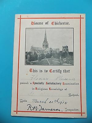 Religious Knowledge Certificate. Diocese Of Chichester. 1915.