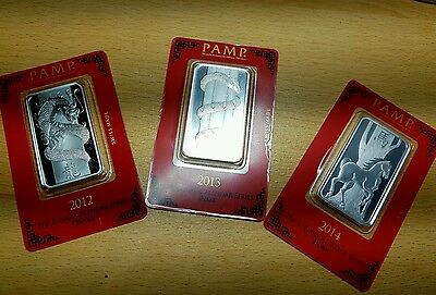 set of 3 PAMP bars one ounce 999 fine silver  2012-2013-2014 .
