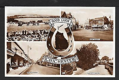 Superb Multi-View Real Photographic Postcard Of Chichester Sussex
