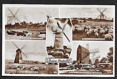 Superb Multi-View Real Photographic Postcard Of Sussex Windmills Posted 1955