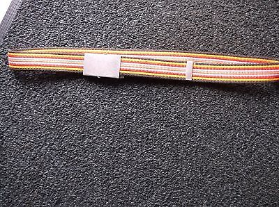 BRAND NEW MULTI ORANGE BROWN PINK RED STRIPE CANVAS BELT with silver fastener .