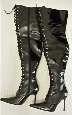 Nitelife fetish dominatrix lace up thigh high boots 37 - brand new