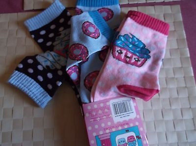 Brand New 3 Pack Blues And Pinks Colour Cake Shop Girls Socks  Uk Size 9-12
