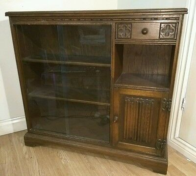Old charm Oak Glazed Bookcase