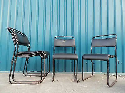 Beautiful 1970's Vintage Industrial Stacking Stackable School Cafe Bar Chairs