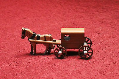 Mini Wooden Handmade Amish Horse And Buggy