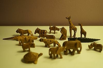 Set of African miniature wood carved animals