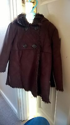 girls gap brown suede and fur winter coat aged 3 years