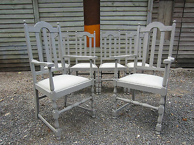 Gorgeous Jaycee Solid Oak Dining Chairs with Carvers (4+2) Painted Farrow & Ball