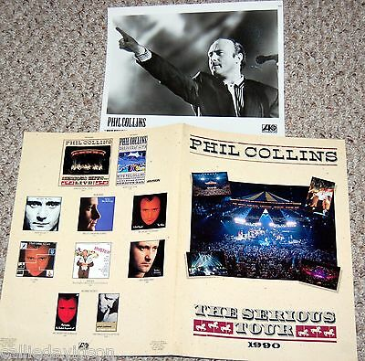 PHIL COLLINS SOLO '90 But Seriously Serious Tour 2pc Photo Press Kit Lot Genesis