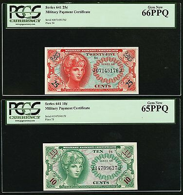 Series 641 10 Cent & 25 Cent Military Payment Certificate PCGS Gem New 65PPQ & 6