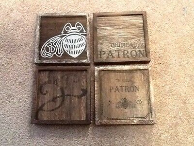 Tequila Patron  Wood Beer Bar Coaster 4Pcs Set  Brand New