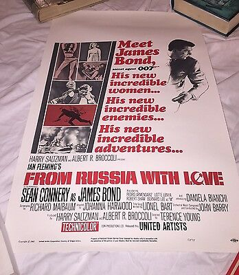 "FROM RUSSIA WITH LOVE-US Window Card 14x22"" Professional Reproduction James Bond"